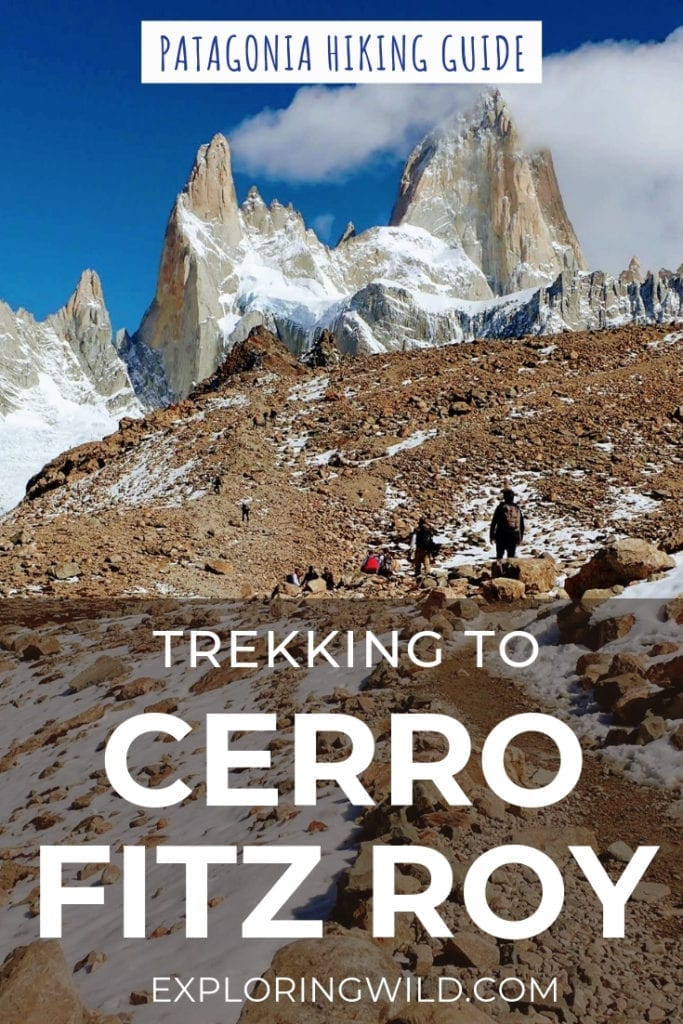 Picture of rocky trail with Fitz Roy peak in background, with text overlay: Trekking to Cerro Fitz Roy