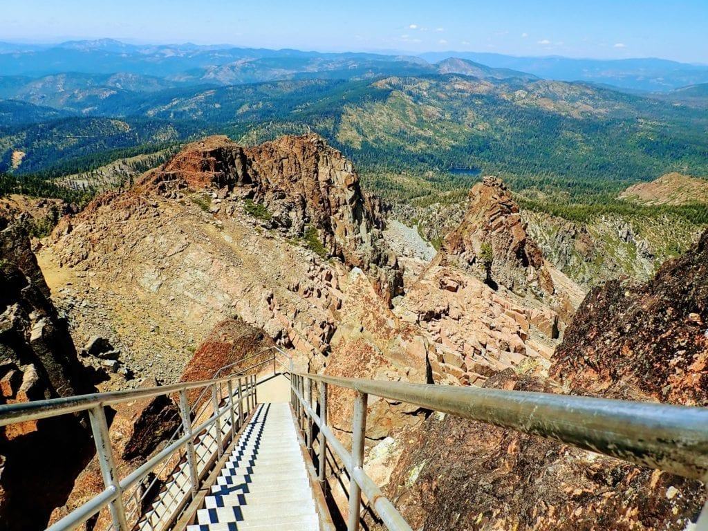 View down the stairs at Sierra Buttes Lookout Tower