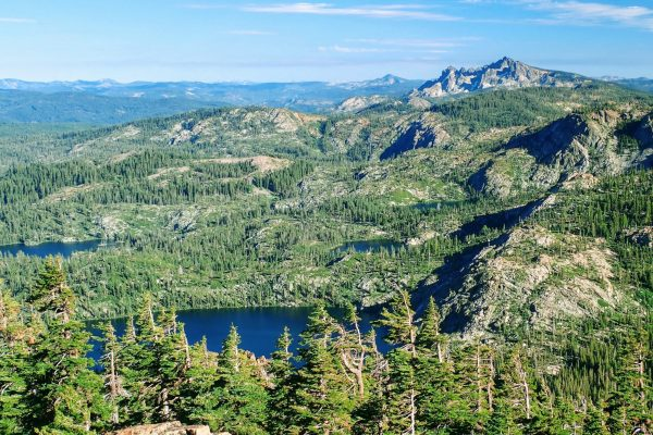 Granite mountains and alpine lakes from Mount Elwell summit