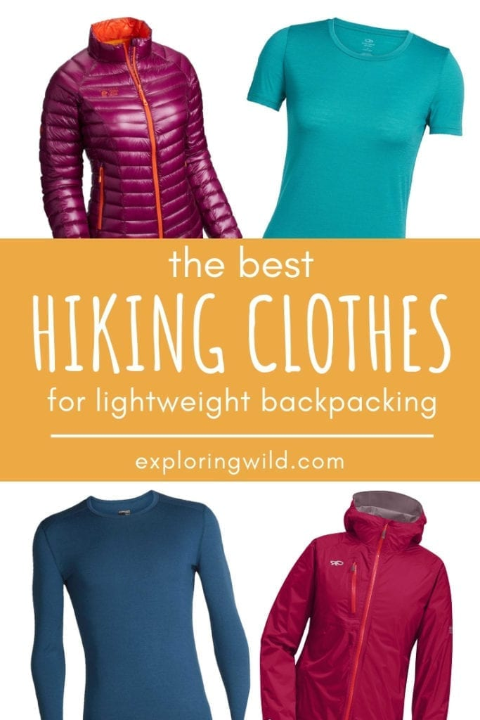 Photos of hiking shirts and jackets with text overlay: the best hiking clothes for lightweight backpacking