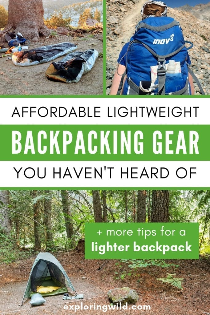 Pictures of outdoor gear with text overlay: affordable lightweight backpacking gear you  haven't heard of.