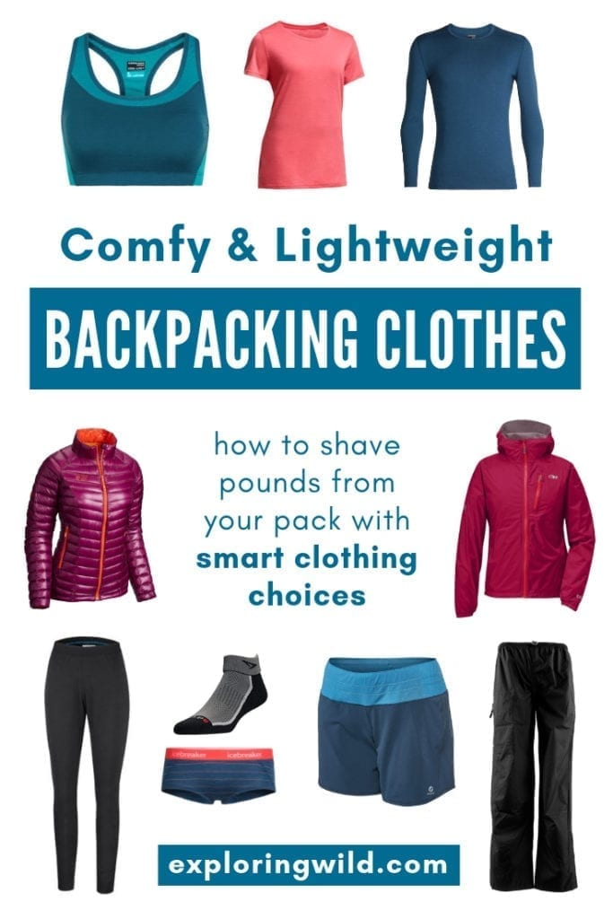 Photos of hiking shirts and jackets with text overlay: Comfy and lightweight backpacking clothes: how to shave pounds from your pack with smart clothing choices