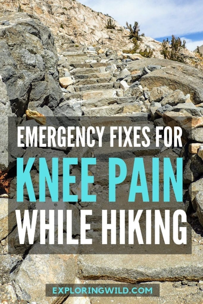 Picture of rock steps on trail, with text overlay: Emergency fixes for knee pain while hiking