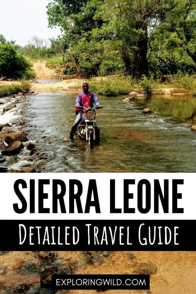 Motorbike taxi crossing river, with text overlay: Sierra Leone Detailed Travel Guide