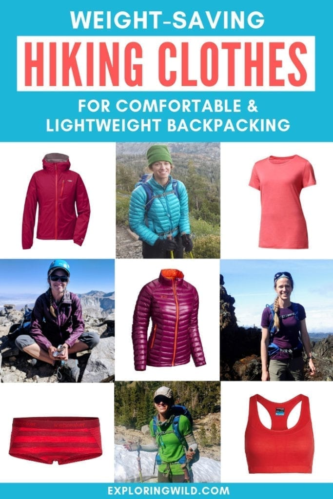 Collage of hikers and hiking clothes with text overlay: Weight-saving hiking clothes for comfortable and lightweight backpacking