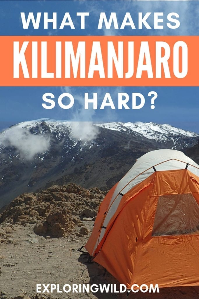 Picture of orange tent on Kilimanjaro with text overlay: What makes Kilimanjaro so hard?