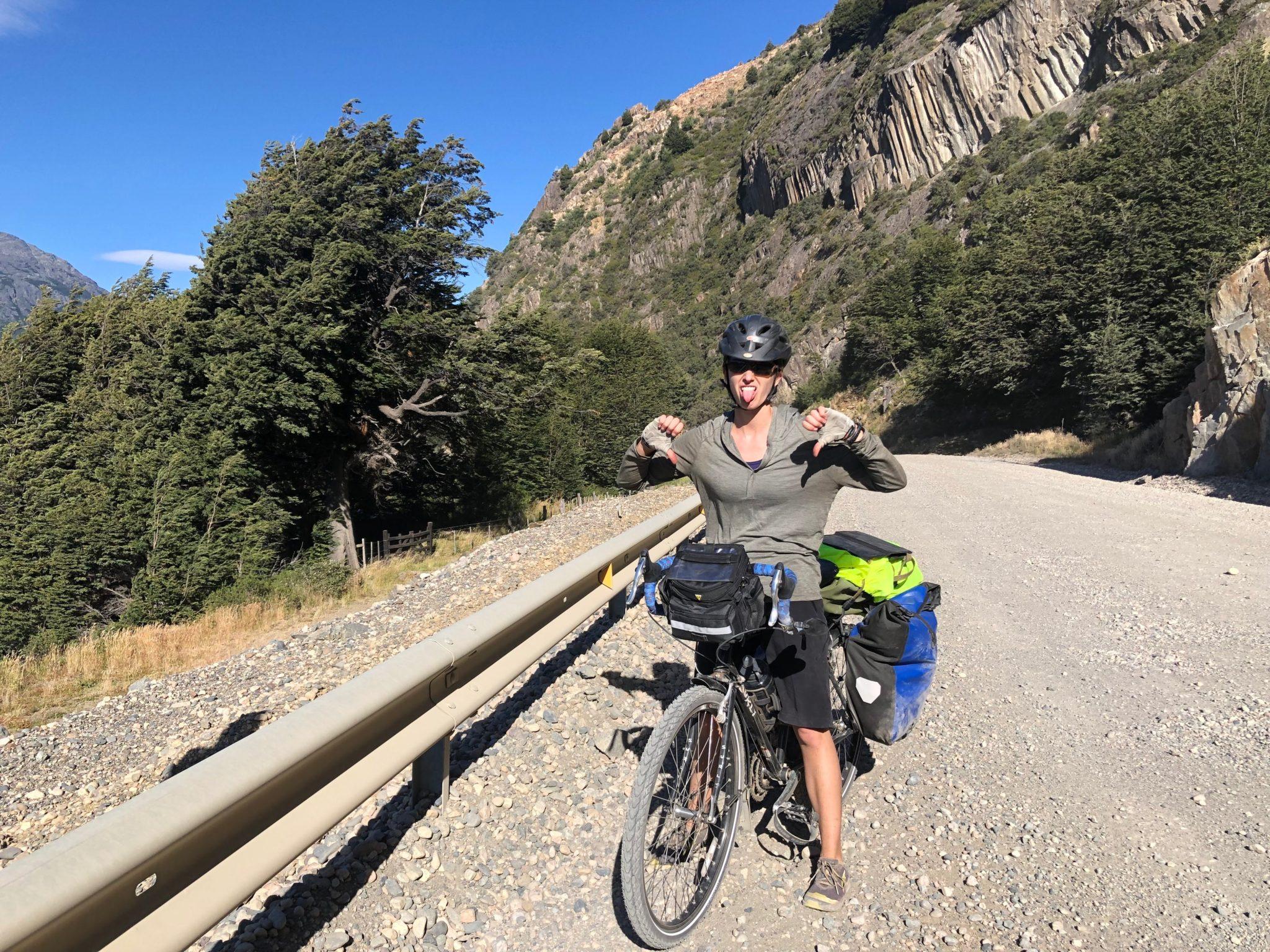Sad cyclist touring Carretera Austral