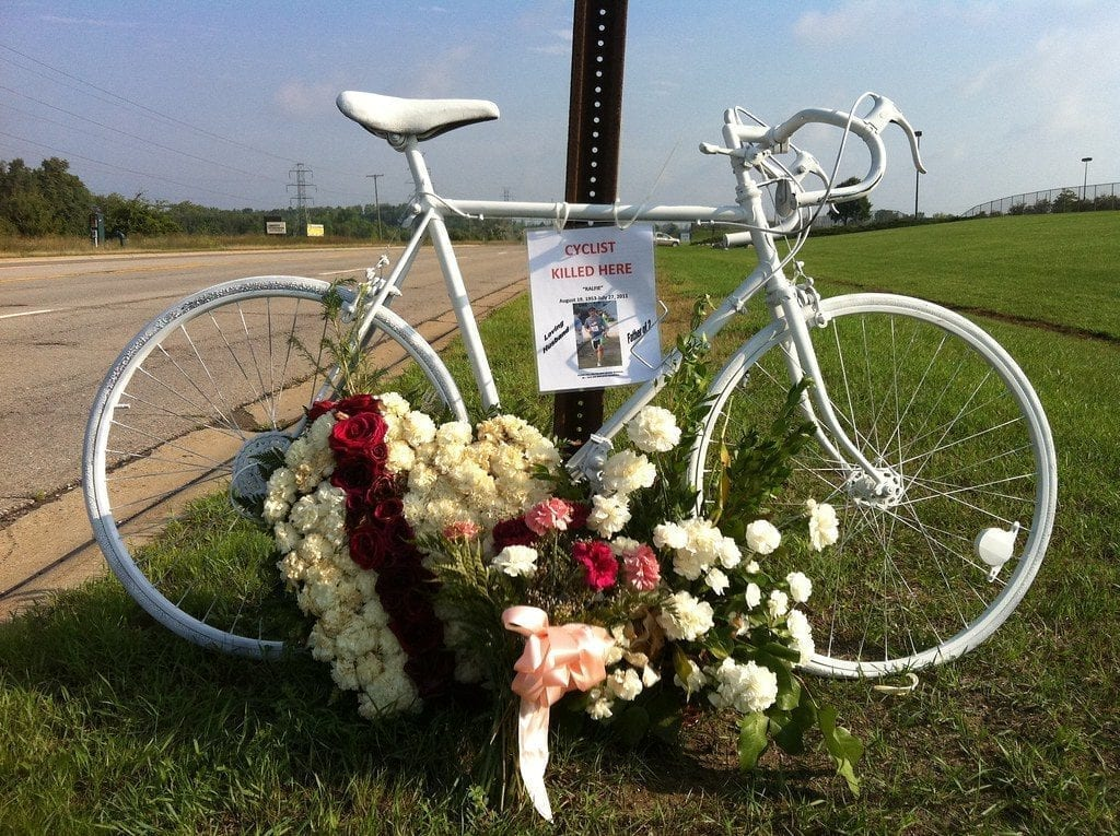 Ghost Bike memorial for Ralph Finneren, cyclist killed by car