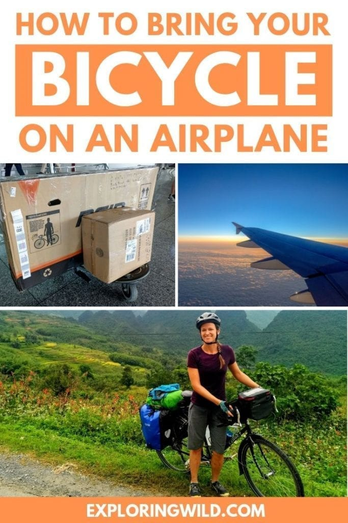 Pictures of bicycle box, airplane wing, and touring cyclist with text: how to bring your bicycle on an airplane