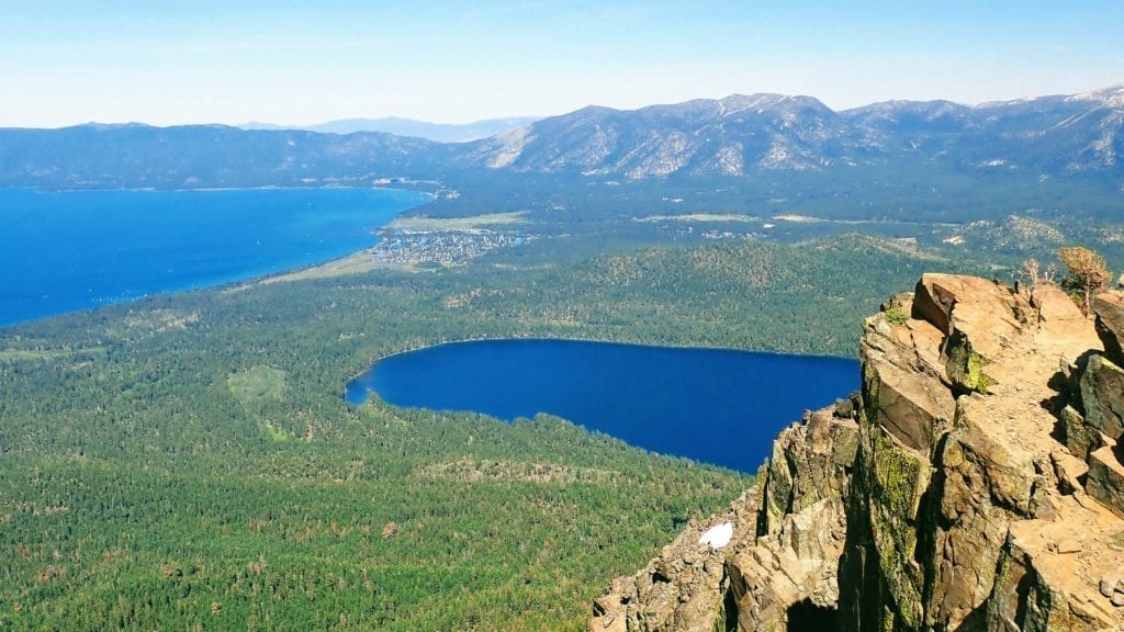 Views of Lake Tahoe and Fallen Leaf Lake from near the summit of Mount Tallac