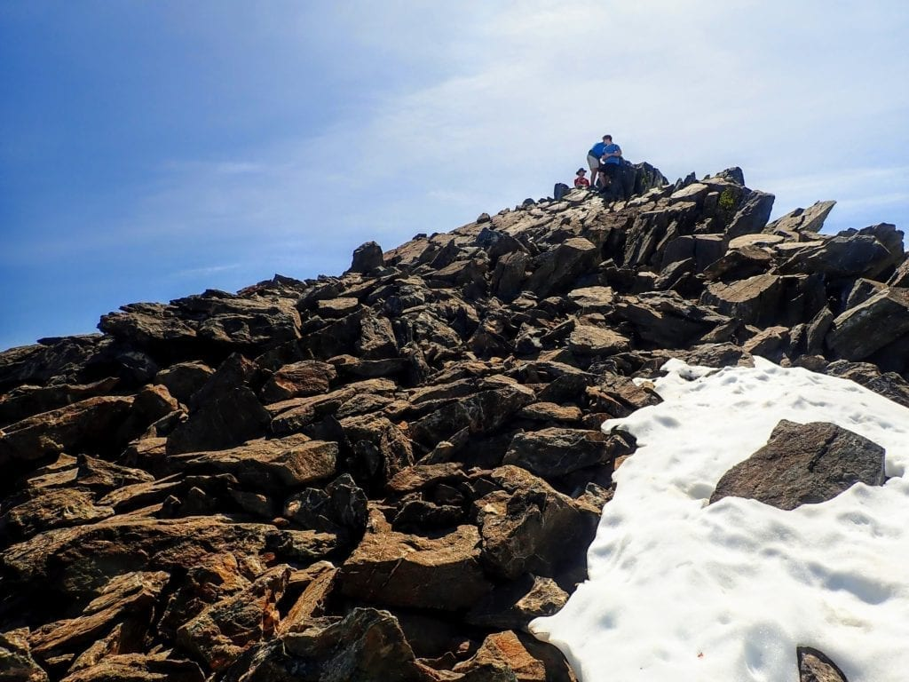 Rocky scramble to Mt Tallac summit
