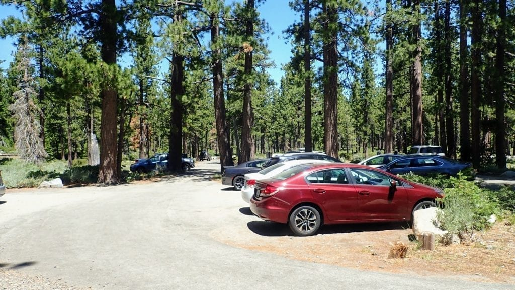 Parking lot at Mt Tallac trailhead