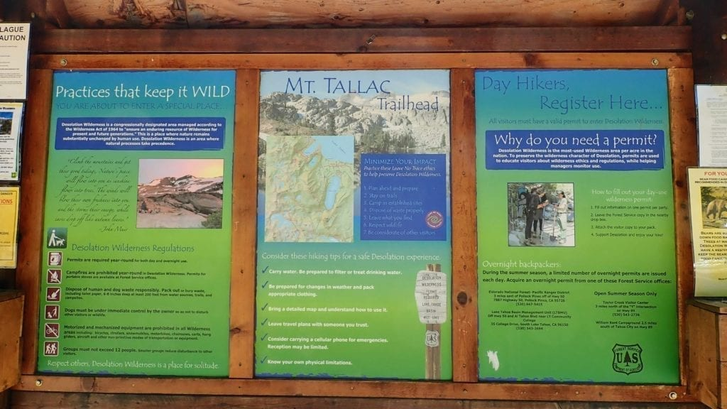 Trail information signs at Mt. Tallac trailhead