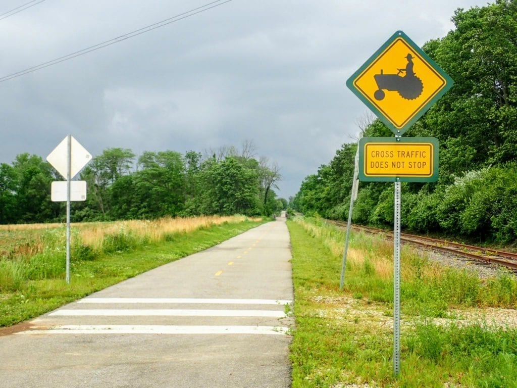 Tractor sign on Ohio To Erie rail trail, Ohio