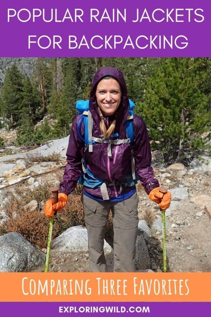 Backpacker wearing purple rain jacket with text overlay: popular rain jackets for backpacking, comparing three favorites