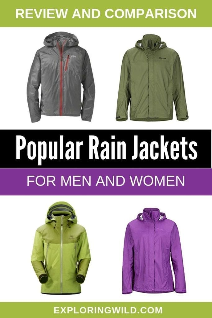 Pictures of four rain jackets, with text: review and comparison, popular rain jackets for men and women