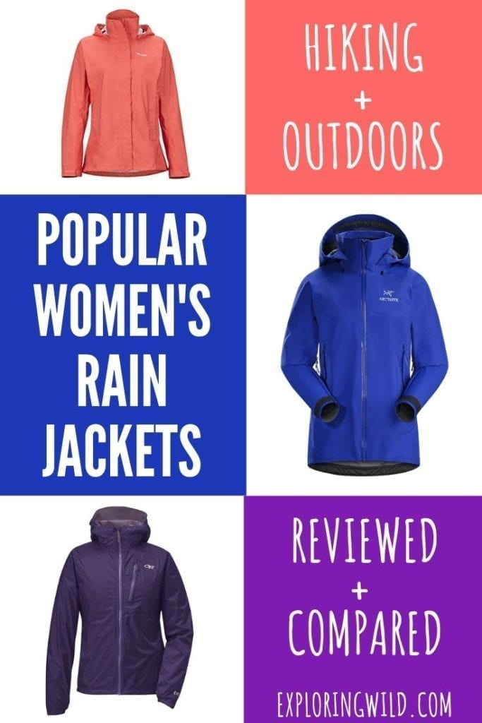 Pictures of three rain jackets with text: review and comparison, popular women's rain jackets, reviewed and compared