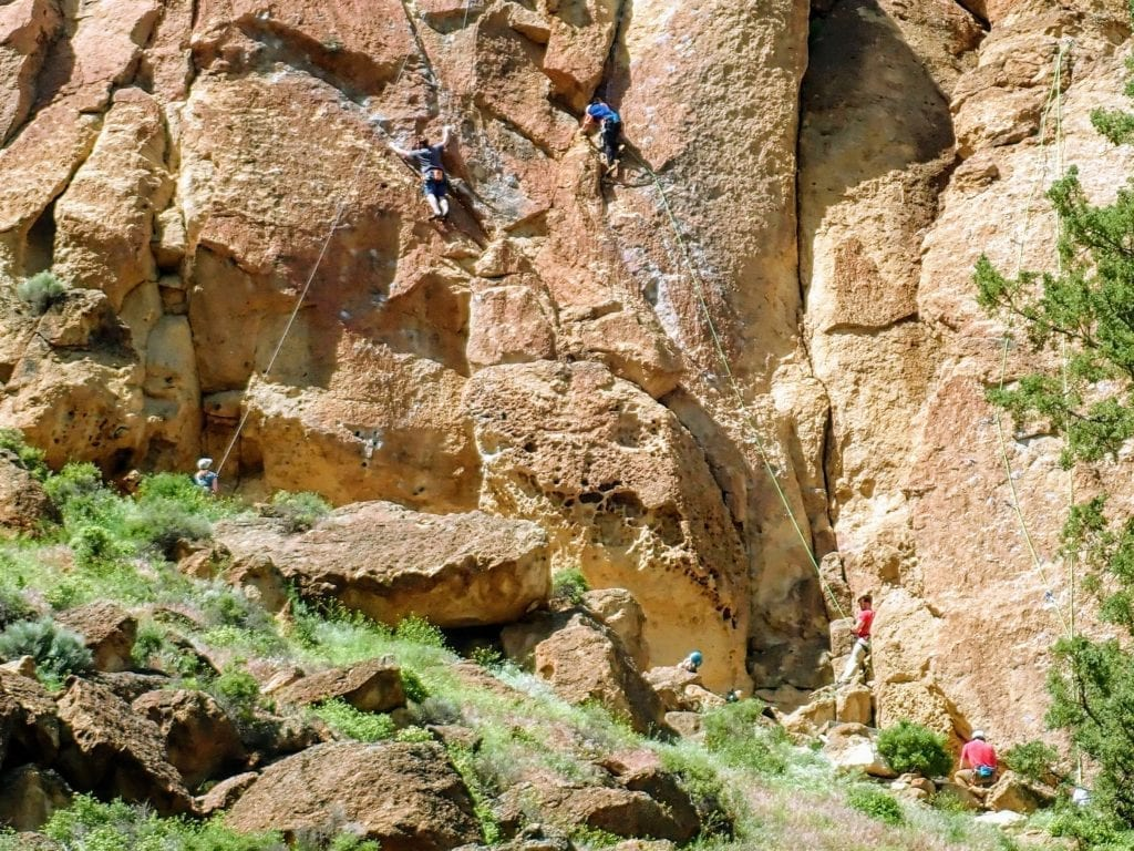 Rock climbers on sport route at Smith Rock State Park