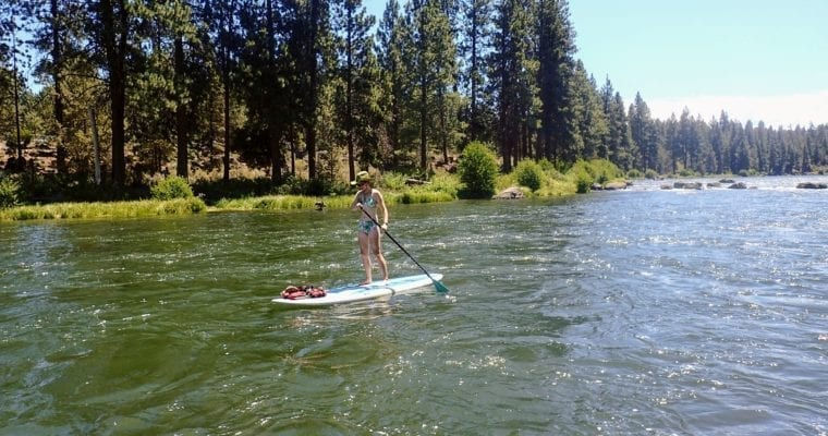 SUP boarder on Deschutes River in Bend