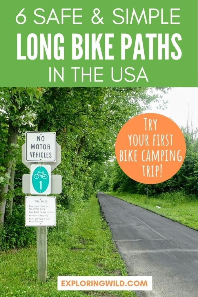 Paved bicycle path in Ohio with text overlay: 6 safe and simple long bike paths in the USA