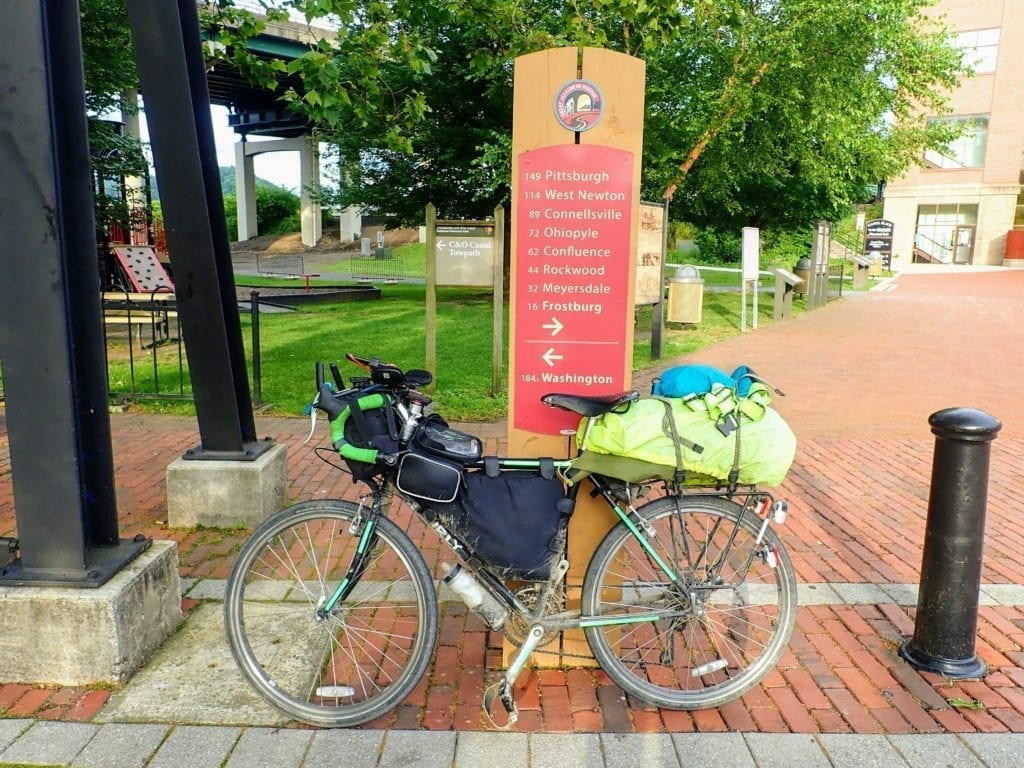 Touring bike at start of C&O Canal Trail in Cumberland.