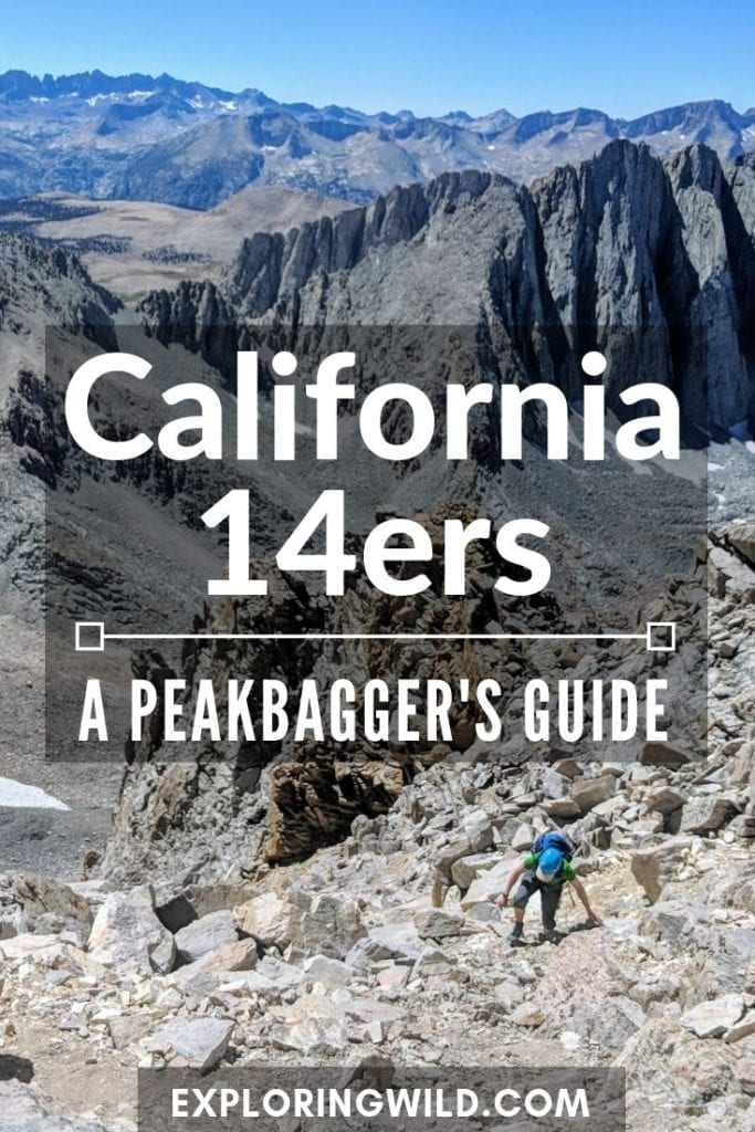 Picture of climber in steep rock gully with text: California 14ers, a peakbagger's guide