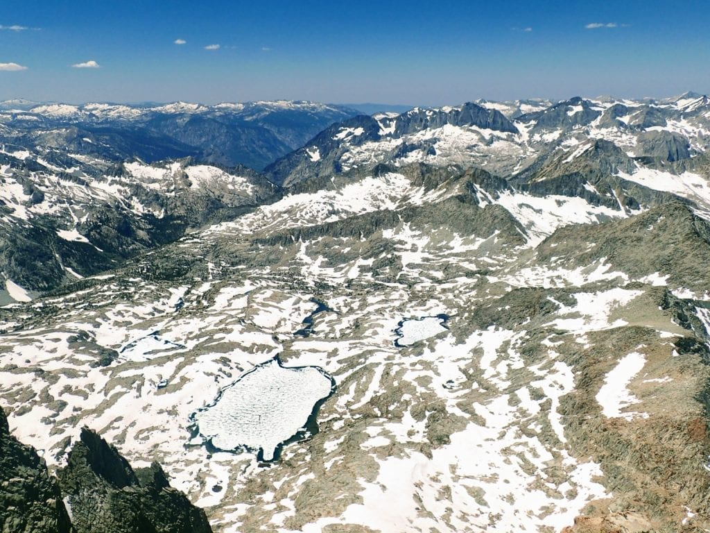 Vast mountain views of the eastern Sierra with snow in summertime