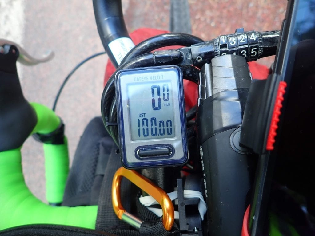 Bike computer with 100 miles counted.
