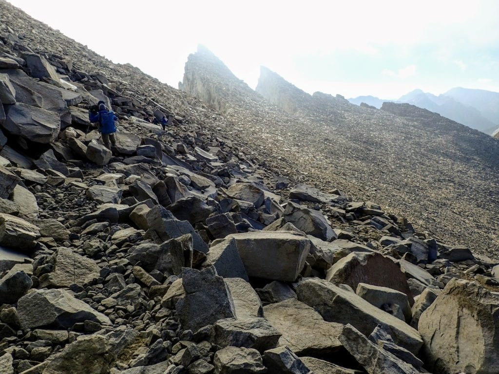 Hikers descending Mount Whitney Trail