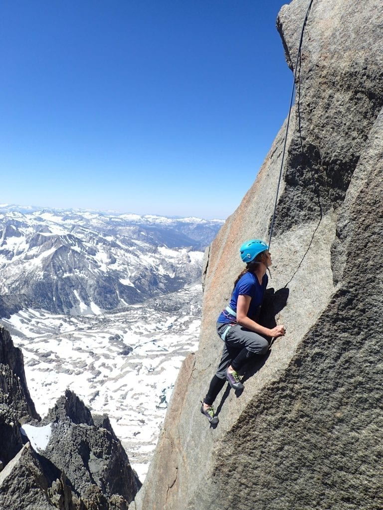 Climber on Thunderbolt's summit block