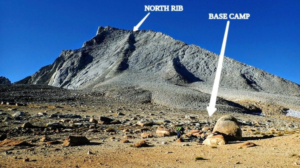 Mount Tyndall with annotations showing the North Rib route and a good basecamp location
