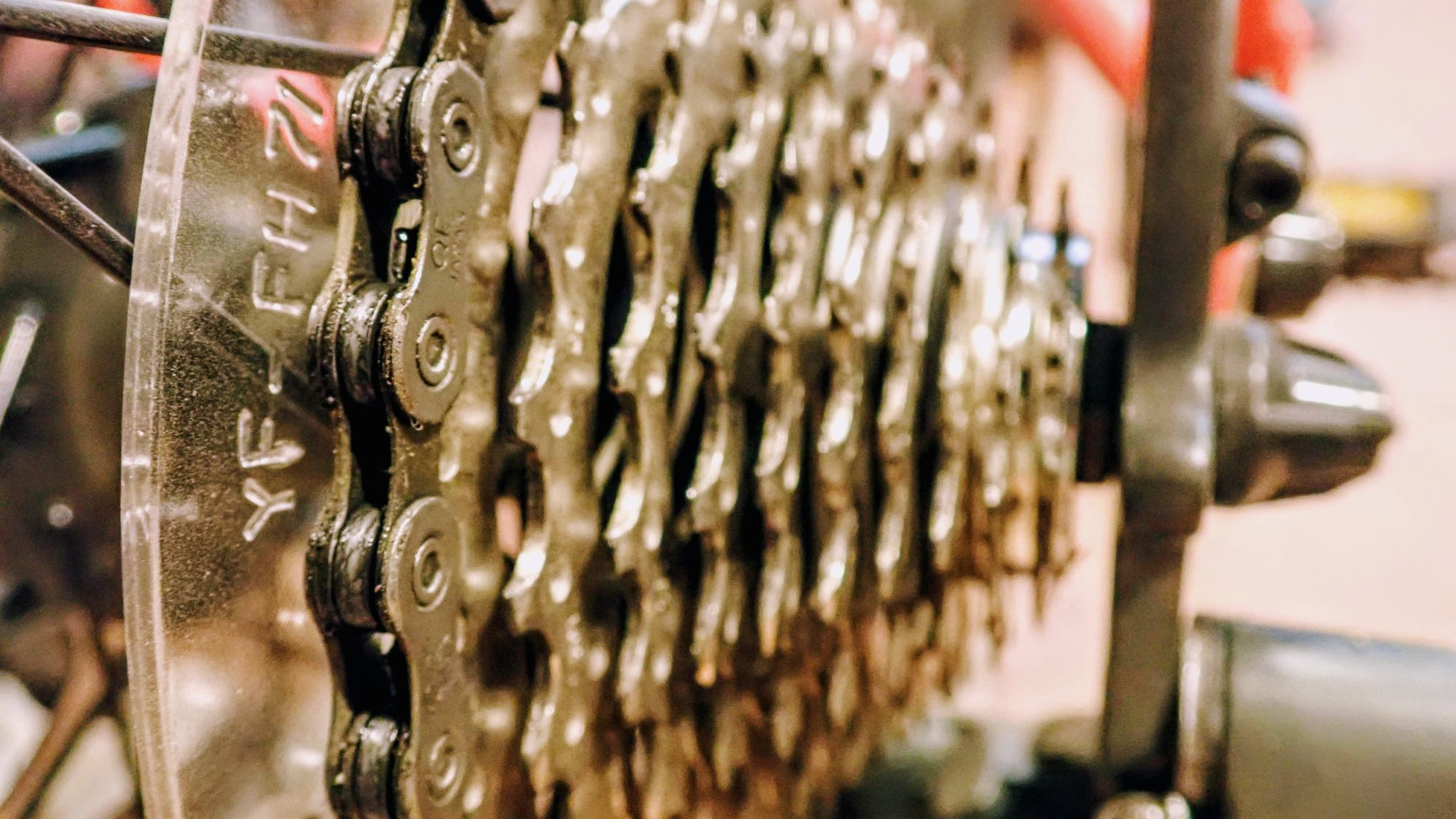 Close up of bicycle cassette and chain