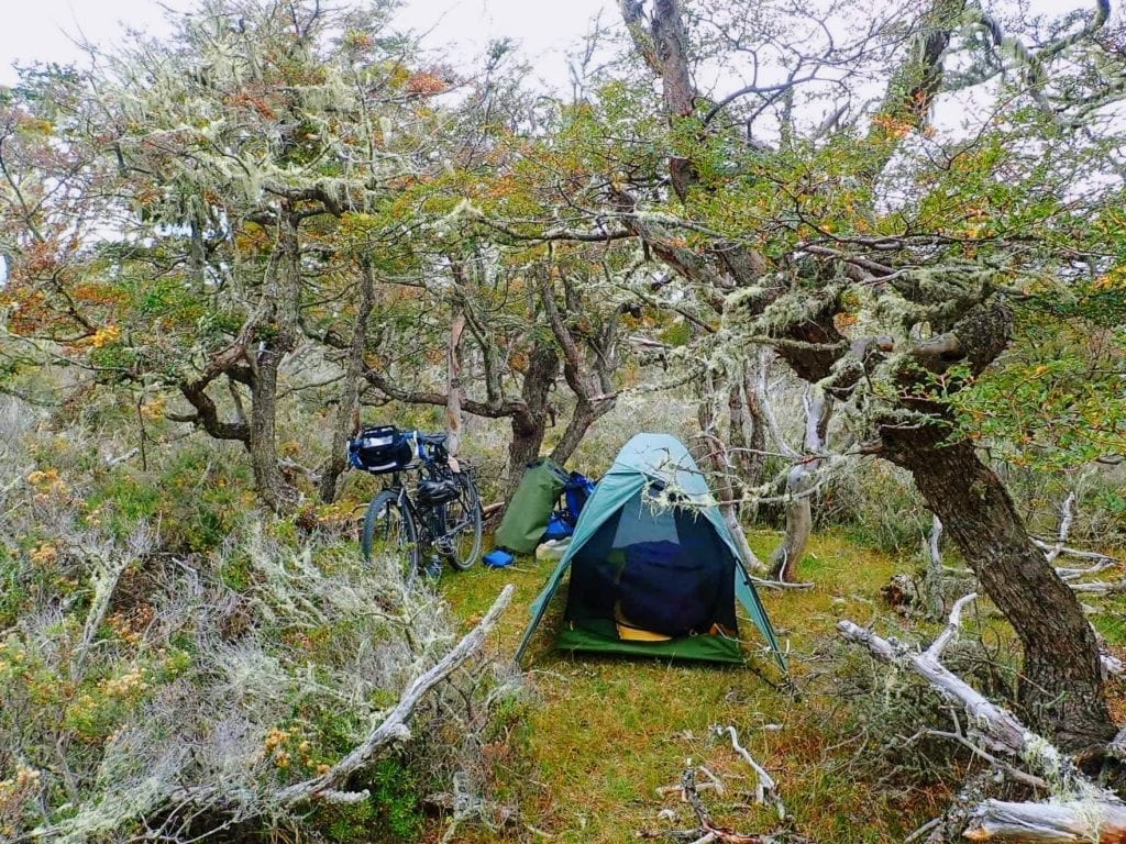 Big Sky tent and Long Haul Trucker bike camping in forest in Argentina