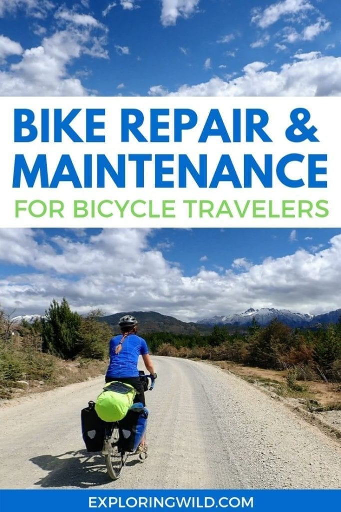Picture of touring cyclist on gravel road with text: Bike repair and maintenance for bicycle travelers