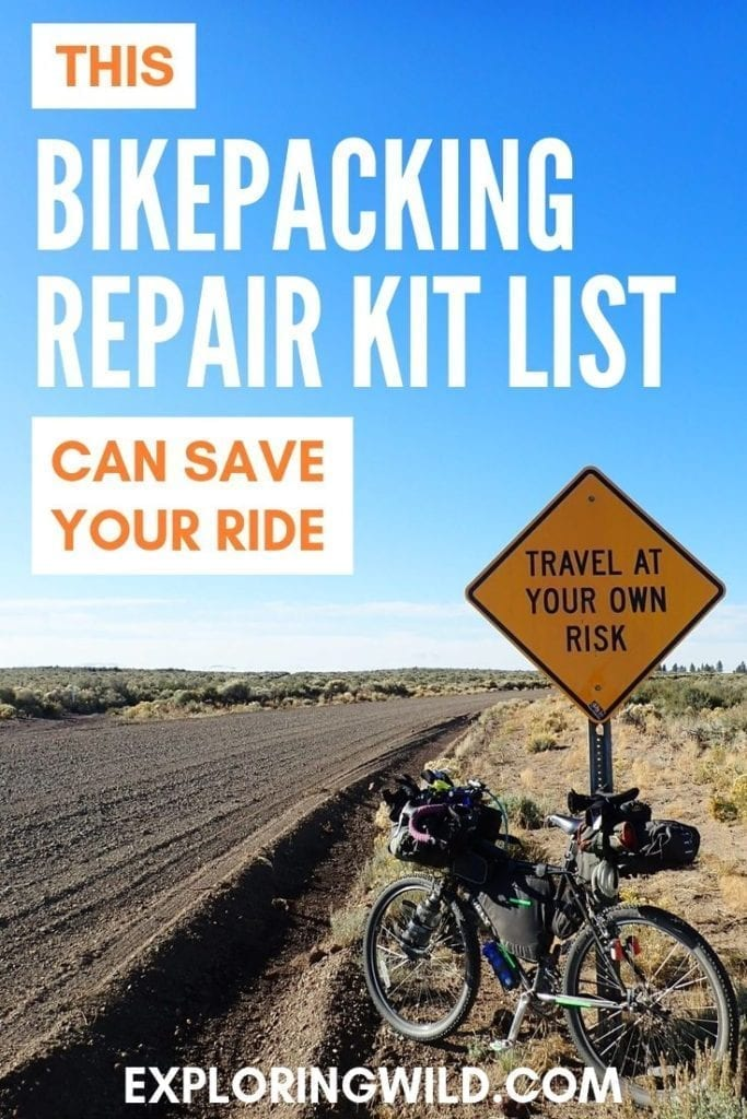 Picture of bikepacking bicycle against road sign by gravel road, with text overlay: this bikepacking repair kit list can save your ride