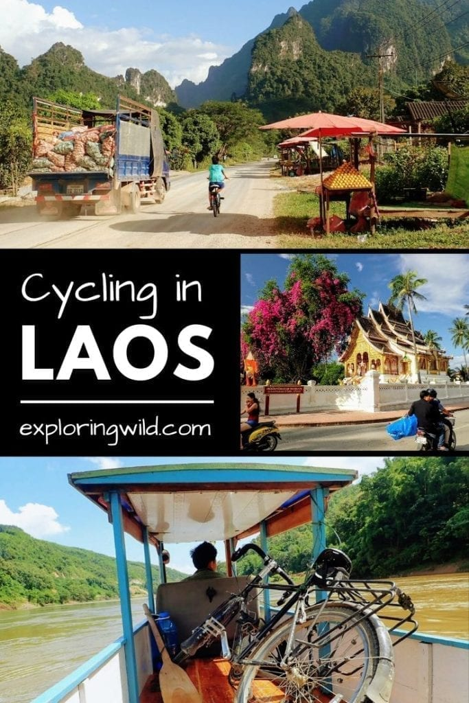 Images of rural road, temple, and bicycle in boat in Laos, with text: Cycling in Laos