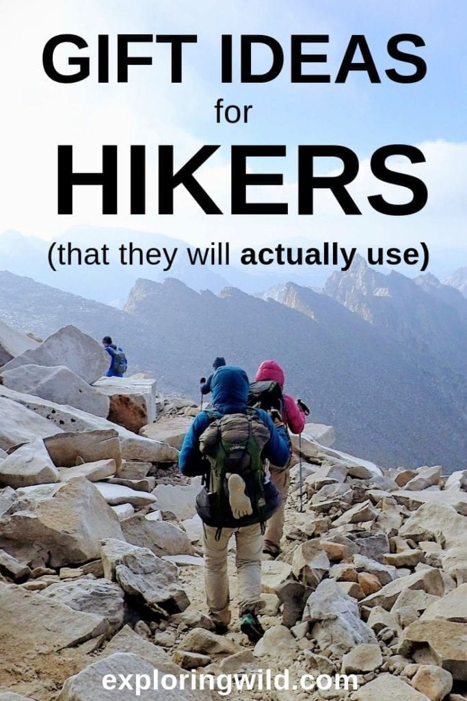 Picture of hikers on rocky alpine trail with text: Gift ideas for hikers (that they will actually use)