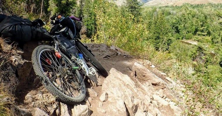 Bikepacking rocky trail in Idaho