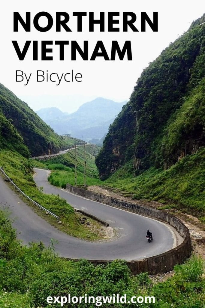 Picture of curvy road in Vietnam with text: Northern Vietnam by Bicycle