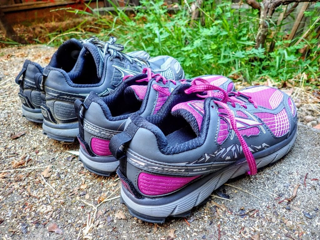 Altra Lone Peak popular trail running shoes for hiking