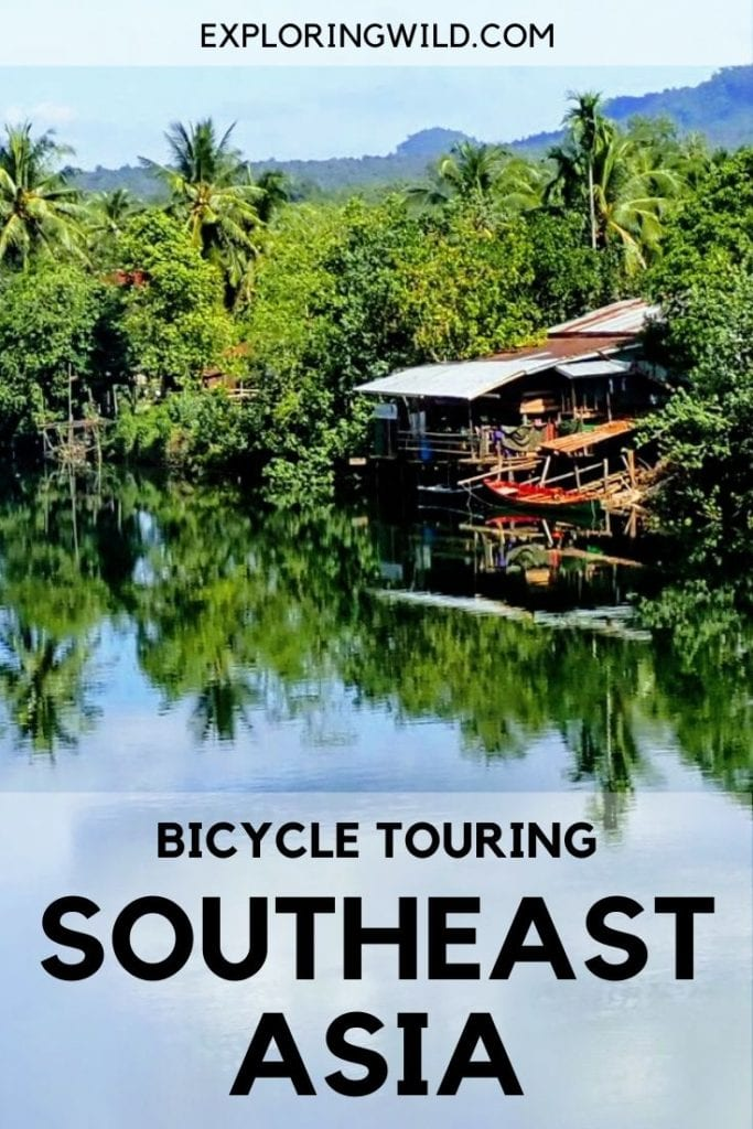 Picture of river in Cambodia, with text: Bicycle Touring Southeast Asia