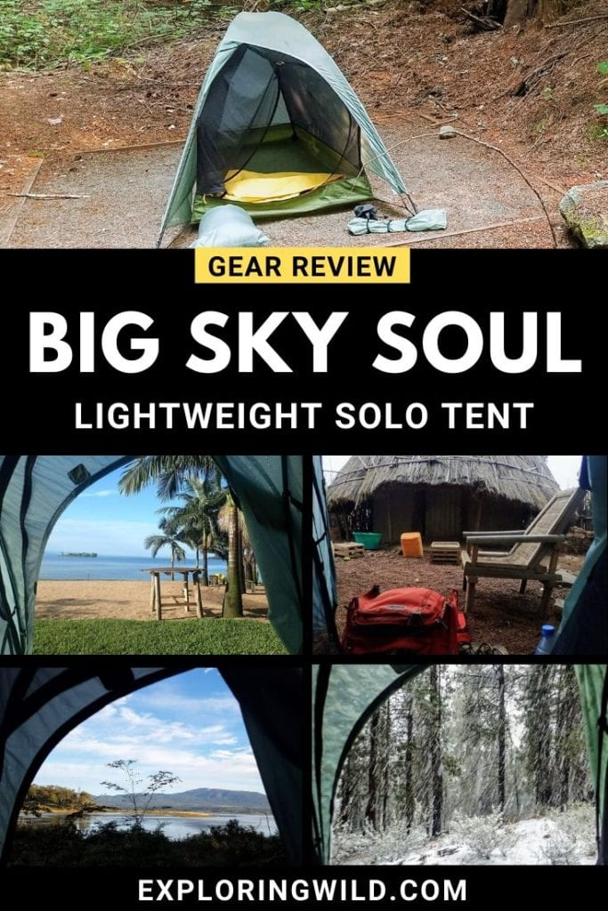 Pictures of Big Sky Soul tent with text: Gear Review, Big Sky Soul, lightweight solo tent