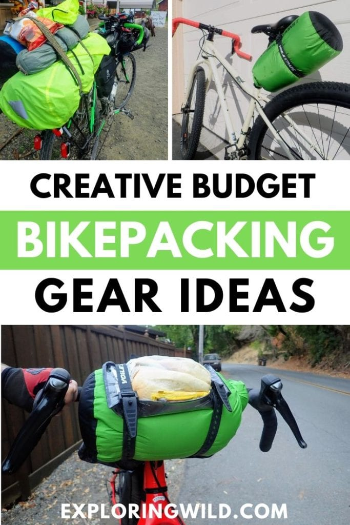 Pictures of bikes and gear with text: creative budget bikepacking gear ideas