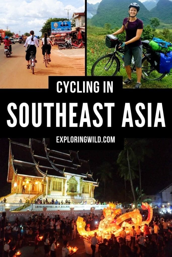 Pictures of touring cyclist, Cambodian town, and Luang Prabang, with text: Cycling in Southeast Asia