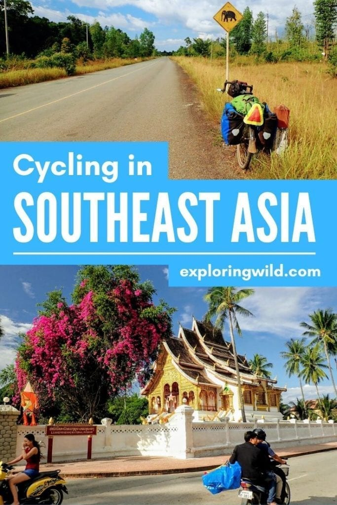 Pictures of bicycle on Cambodian road and temple in Laos, with text: Cycling in Southeast Asia