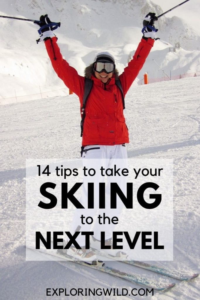Picture of skier in red jacket with text: 14 tips to take your skiing to the next level