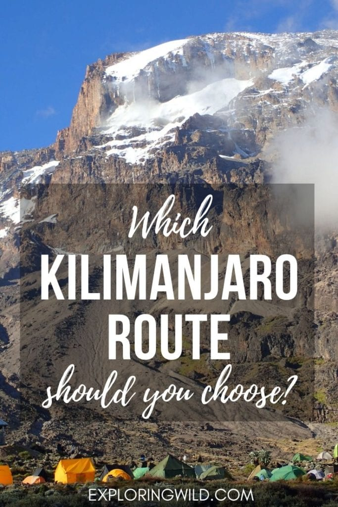 Picture of tents with Kilimanjaro in the background, with text: which Kilimanjaro route should you choose?
