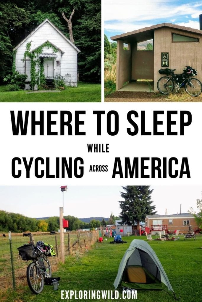 Pictures of small buildings and tent with bicycle, and text: Where to sleep while bicycling across America