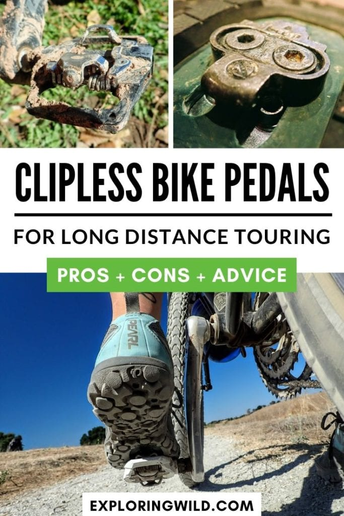 Pictures of clipless bicycle pedals with text: Clipless Bike Pedals for long distance touring: pros, cons, advice