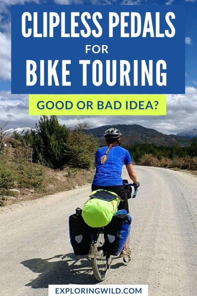 Picture of touring cyclist with text: Clipless pedals for bike touring: good or bad idea?